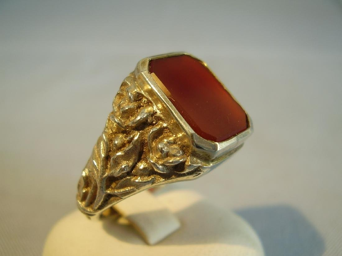 Antique 835 Silver mens ring with carnelian - 2