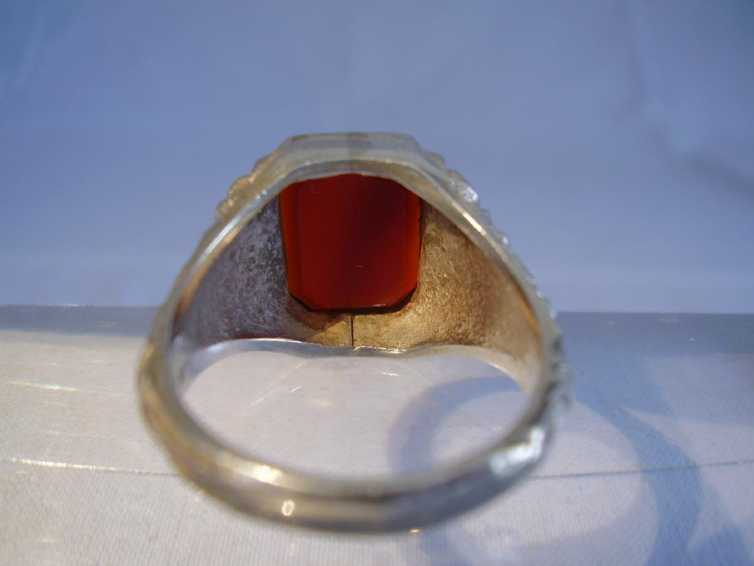 Antique 835 Silver mens ring with carnelian - 3