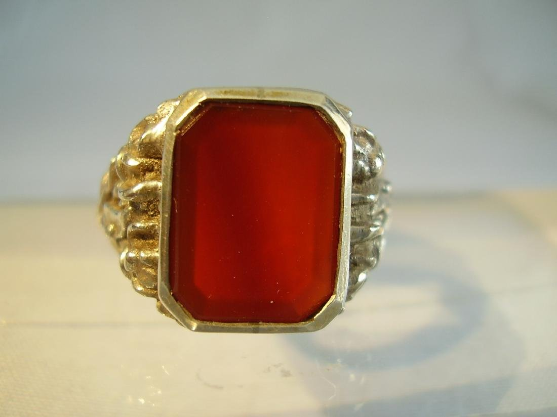 Antique 835 Silver mens ring with carnelian - 4