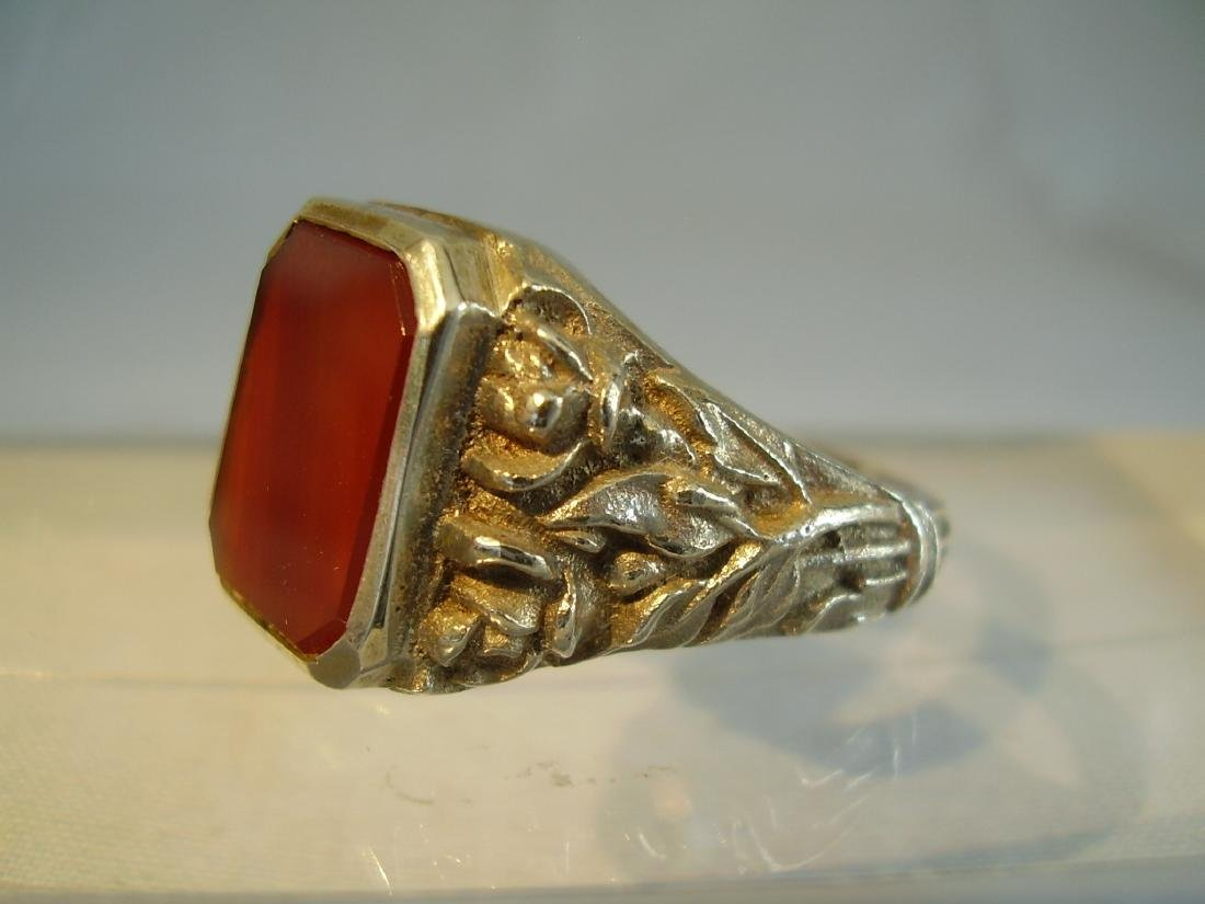 Antique 835 Silver mens ring with carnelian - 5
