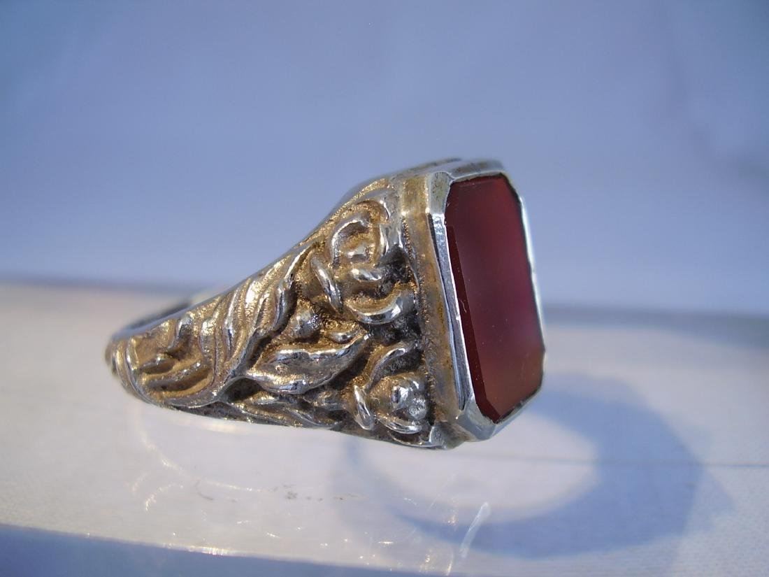 Antique 835 Silver mens ring with carnelian - 6