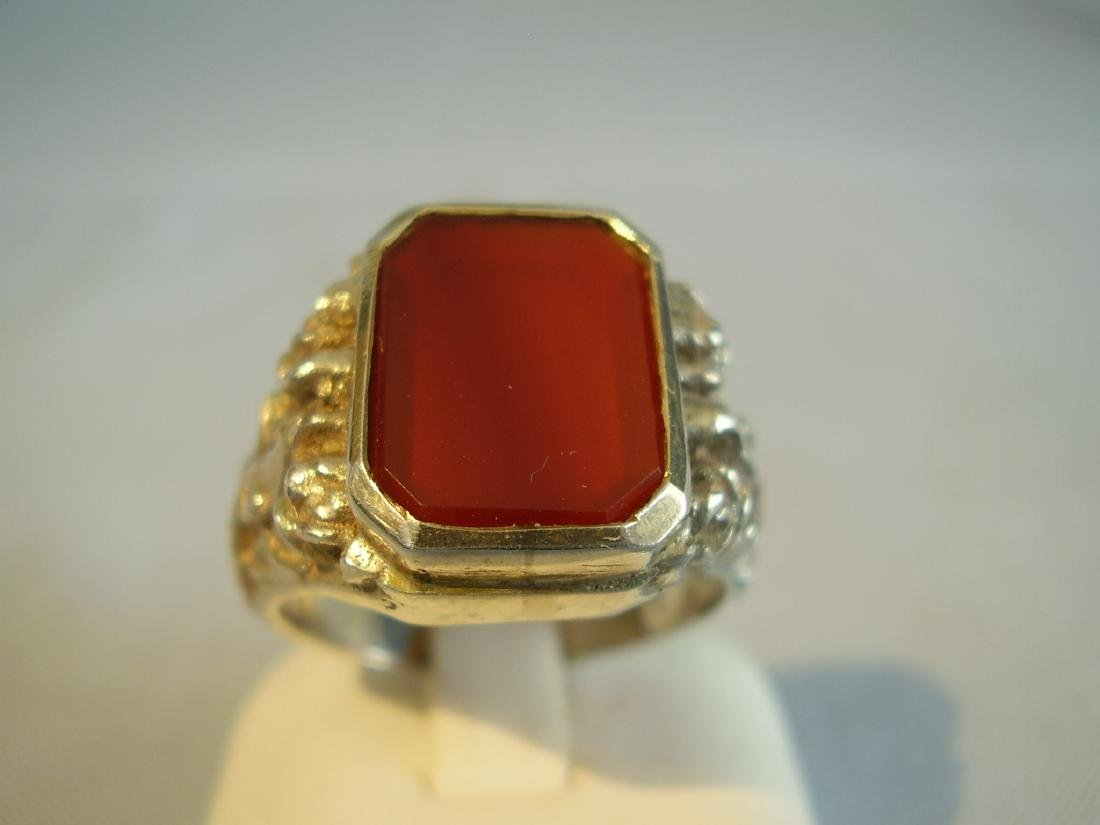 Antique 835 Silver mens ring with carnelian - 7