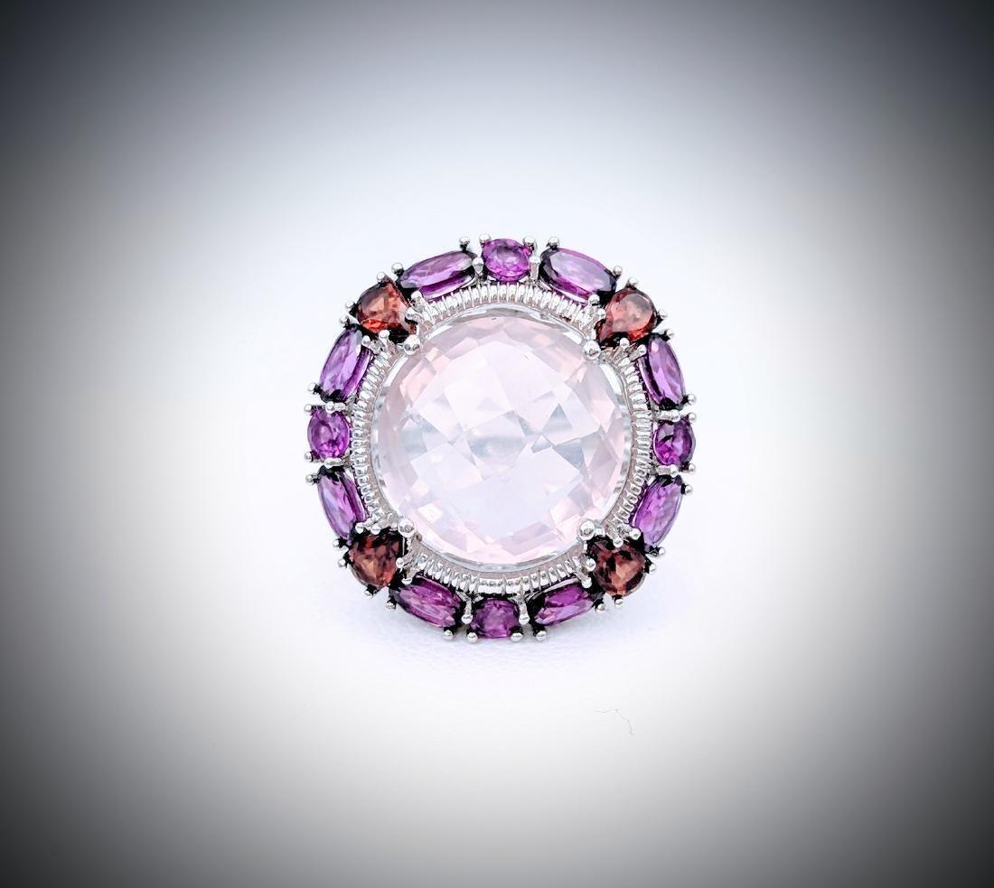 Sterling Silver Kunzite Garnet Amethyst Ring