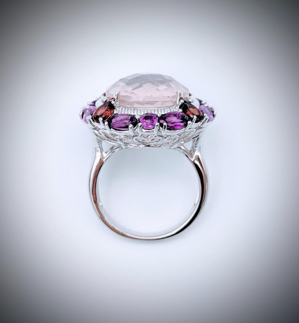 Sterling Silver Kunzite Garnet Amethyst Ring - 2