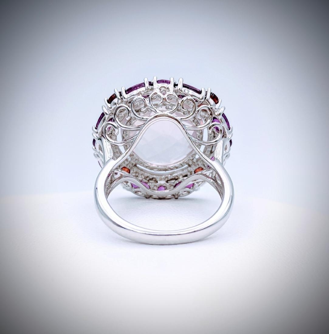 Sterling Silver Kunzite Garnet Amethyst Ring - 3