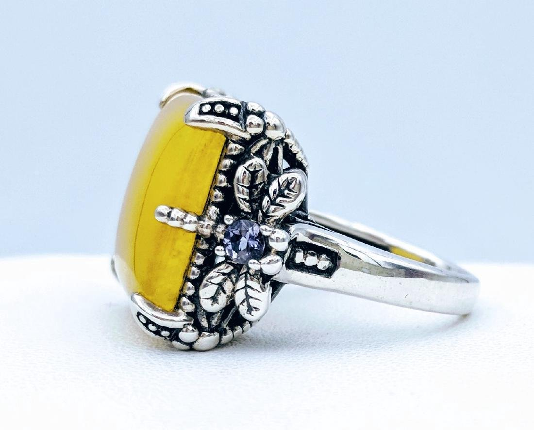 Sterling Silver Yellow Jade Dragonfly Design Ring