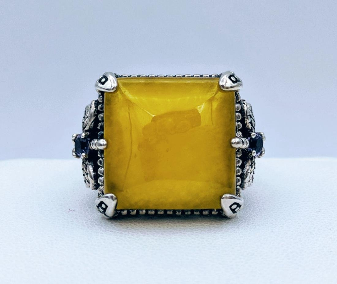 Sterling Silver Yellow Jade Dragonfly Design Ring - 2