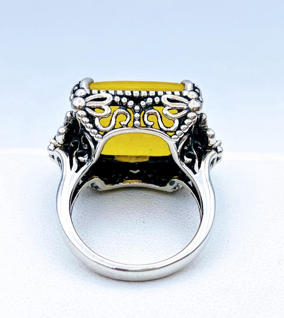 Sterling Silver Yellow Jade Dragonfly Design Ring - 3