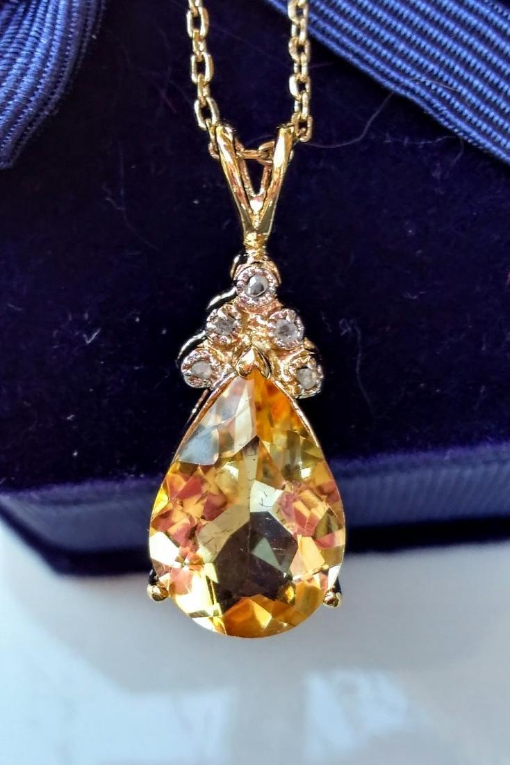 18k Gold Plated 6.00 Ctw Citrine Diamond Necklace