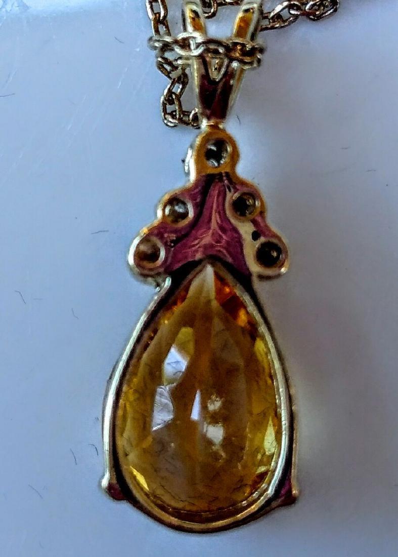 18k Gold Plated 6.00 Ctw Citrine Diamond Necklace - 2