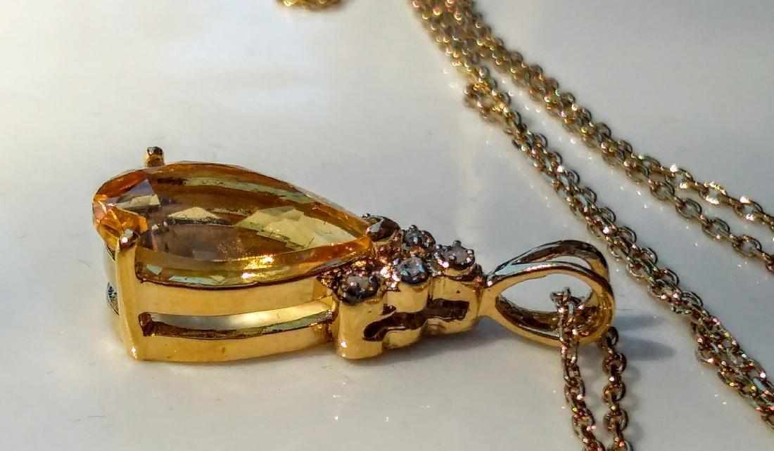 18k Gold Plated 6.00 Ctw Citrine Diamond Necklace - 3