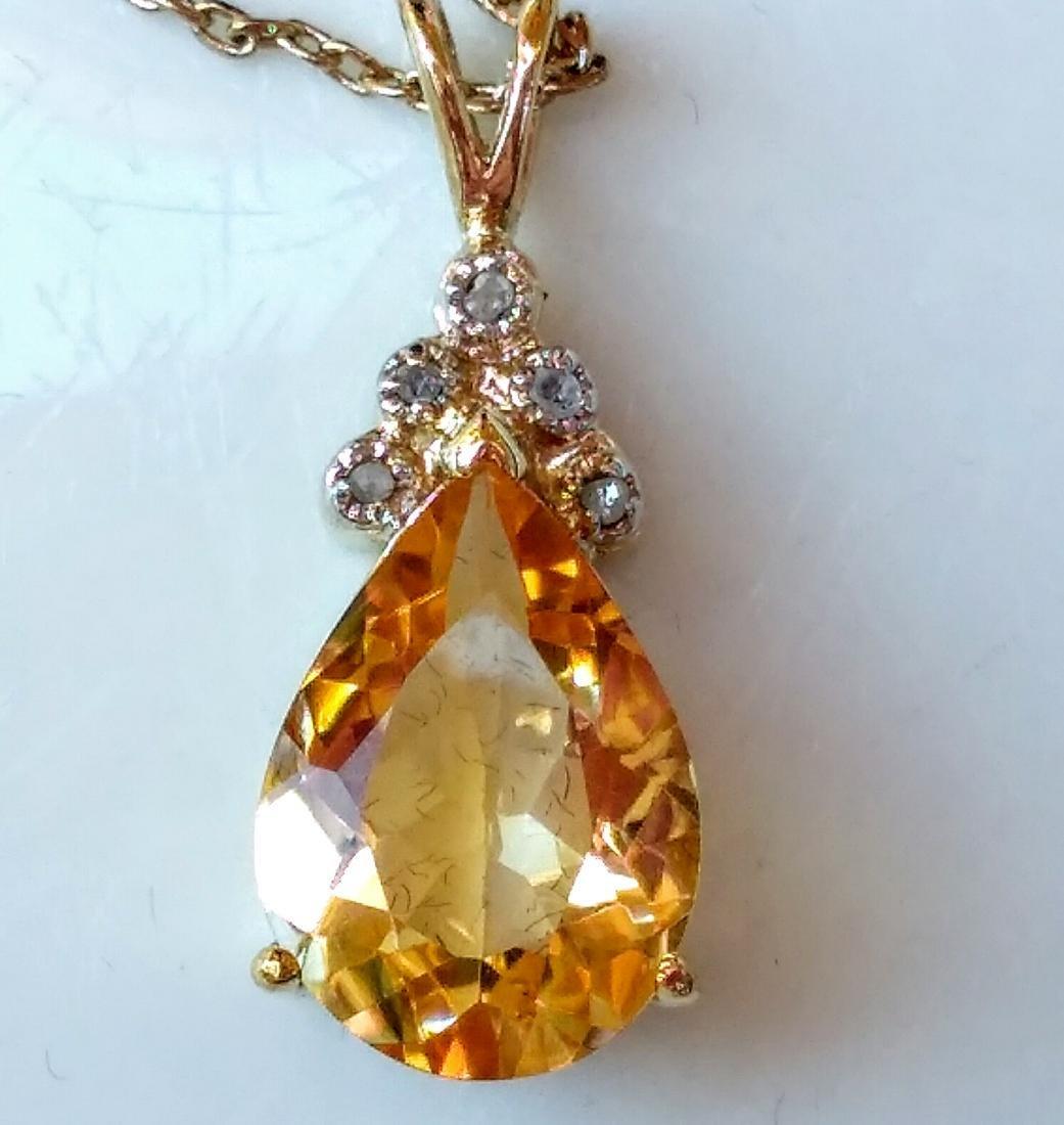 18k Gold Plated 6.00 Ctw Citrine Diamond Necklace - 4