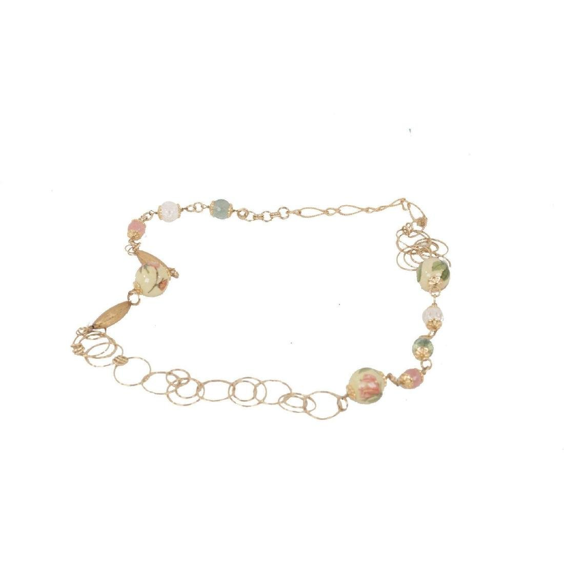 Vintage Gold Metal Chain Necklace W/ Decoupaged Beads