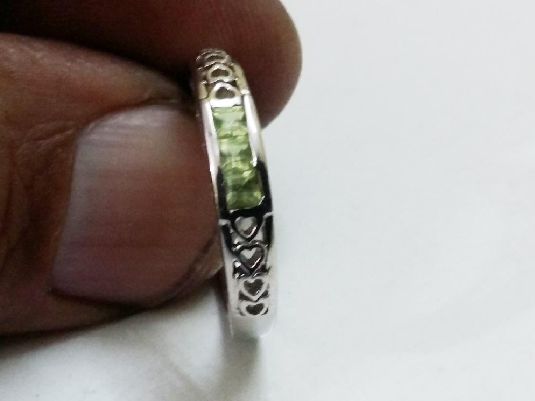 925 Sterling Silver Ring with Natural Green Peridot - 2