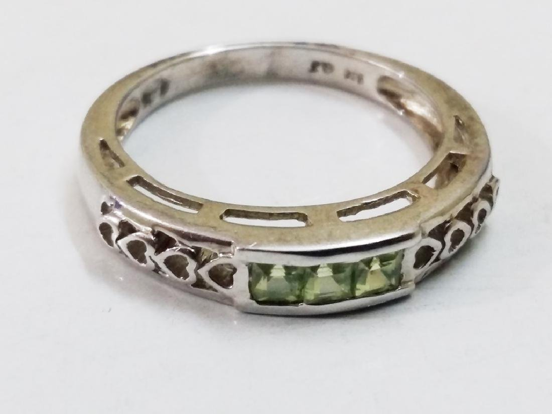 925 Sterling Silver Ring with Natural Green Peridot - 3