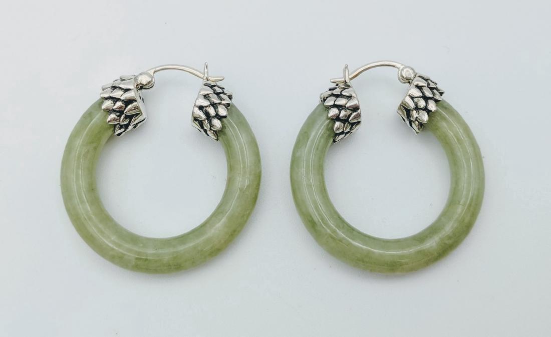 Sterling Silver Jade Imperial Design Earrings