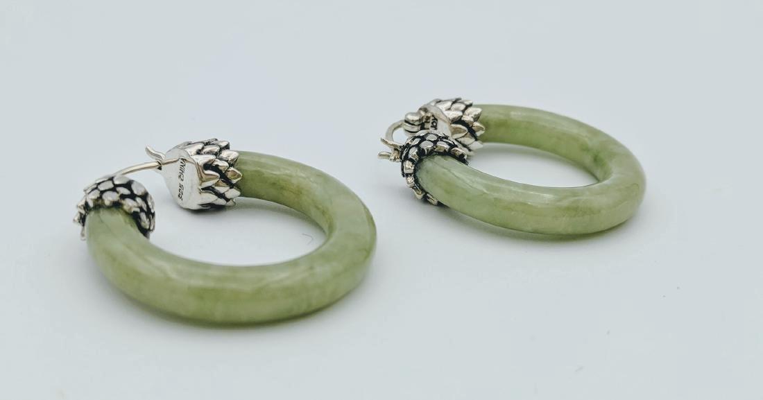 Sterling Silver Jade Imperial Design Earrings - 2