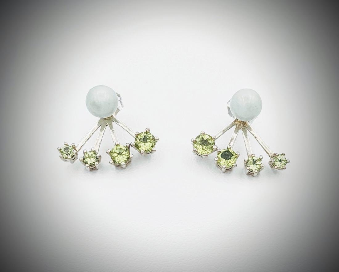 Sterling Silver Jacket Earrings with Jade, and Peridot