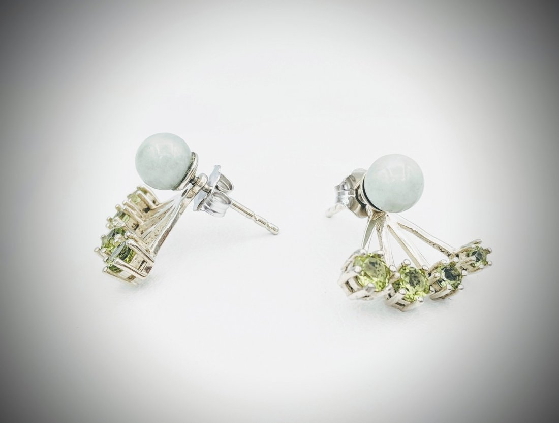 Sterling Silver Jacket Earrings with Jade, and Peridot - 2