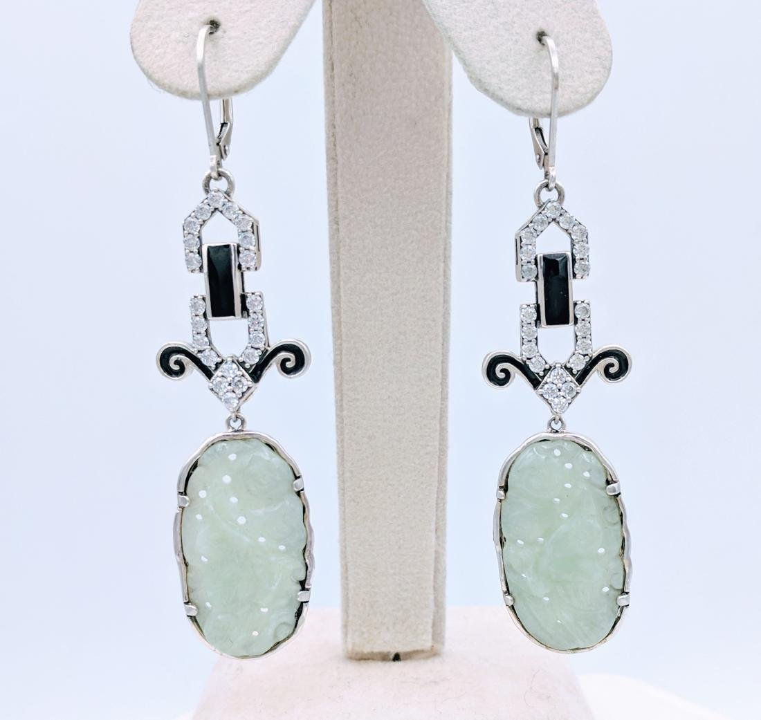 Sterling Silver Carved Jade Black Enamel Earrings