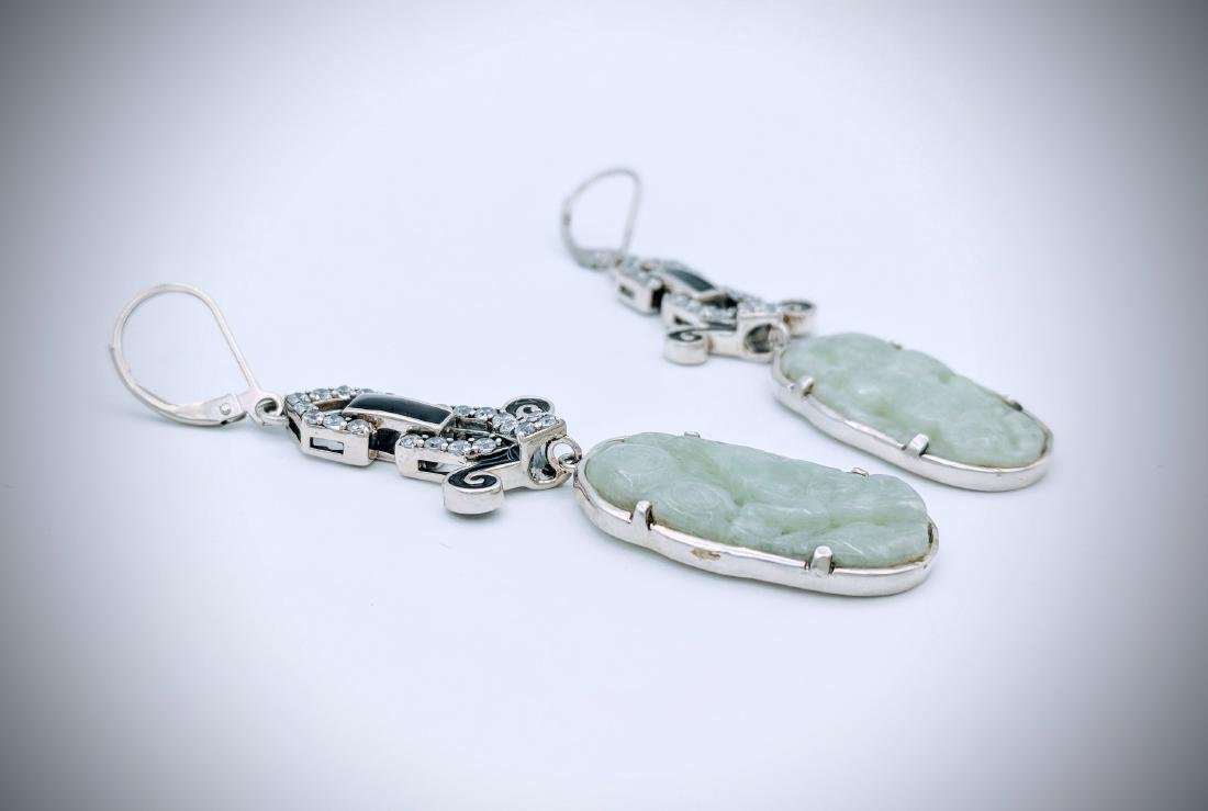 Sterling Silver Carved Jade Black Enamel Earrings - 3