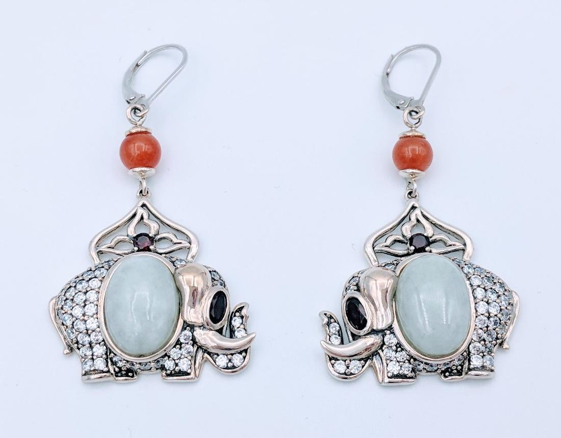 Sterling Silver Jade Agate Garnet Elephant Earrings