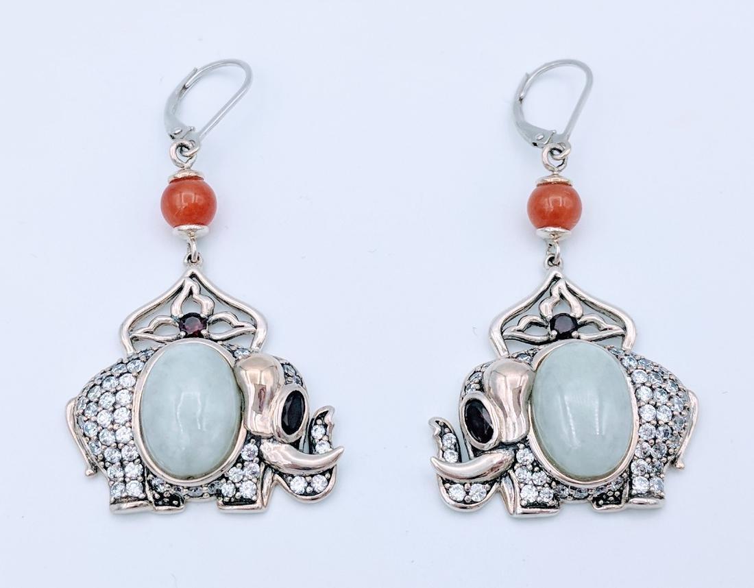 Sterling Silver Jade Agate Garnet Elephant Earrings