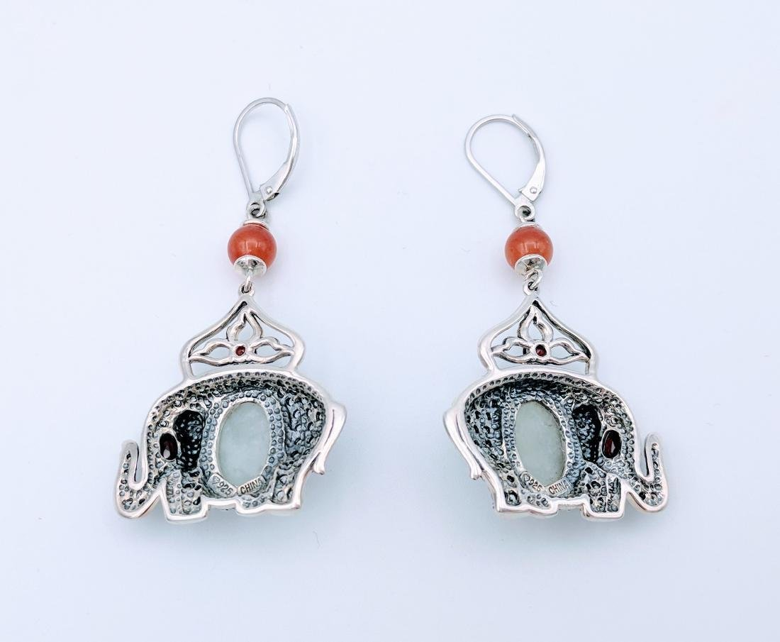 Sterling Silver Jade Agate Garnet Elephant Earrings - 2