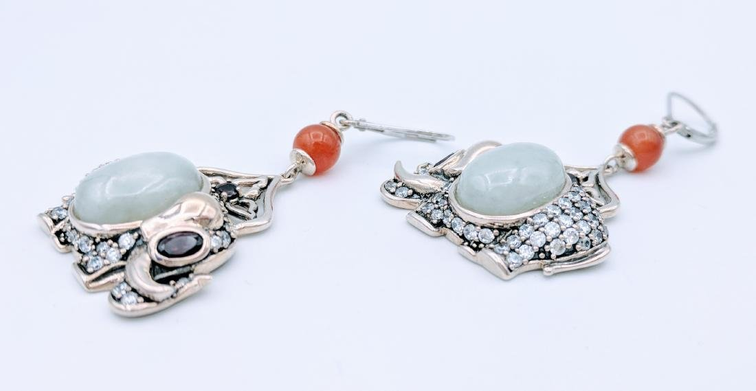 Sterling Silver Jade Agate Garnet Elephant Earrings - 3