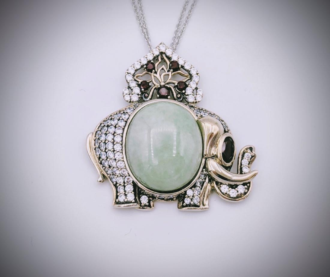 Sterling Silver Jade Garnet Elephant Necklace