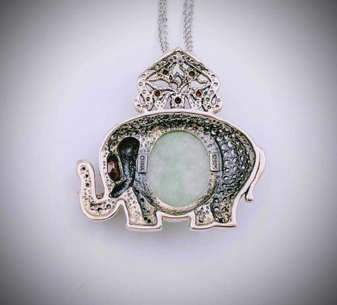 Sterling Silver Jade Garnet Elephant Necklace - 2