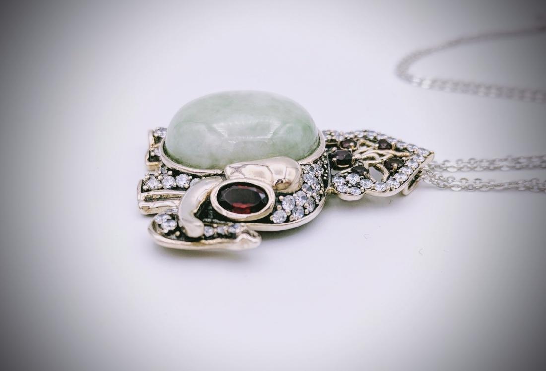 Sterling Silver Jade Garnet Elephant Necklace - 3