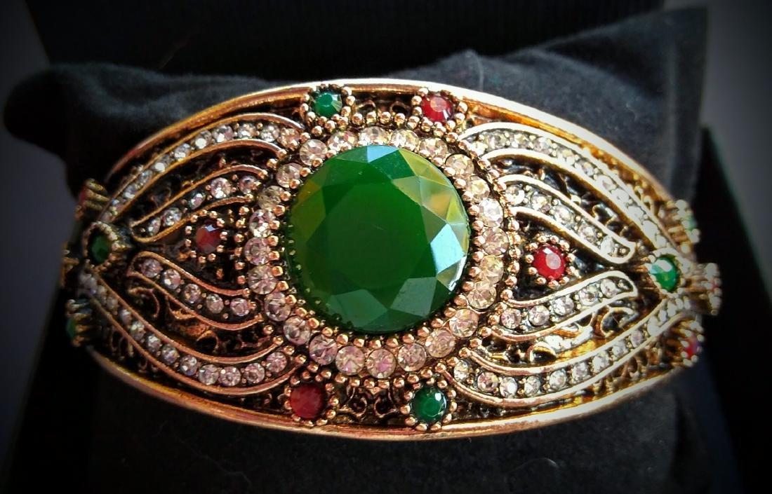 Vintage Brass Emerald Ruby White Topaz Bracelet