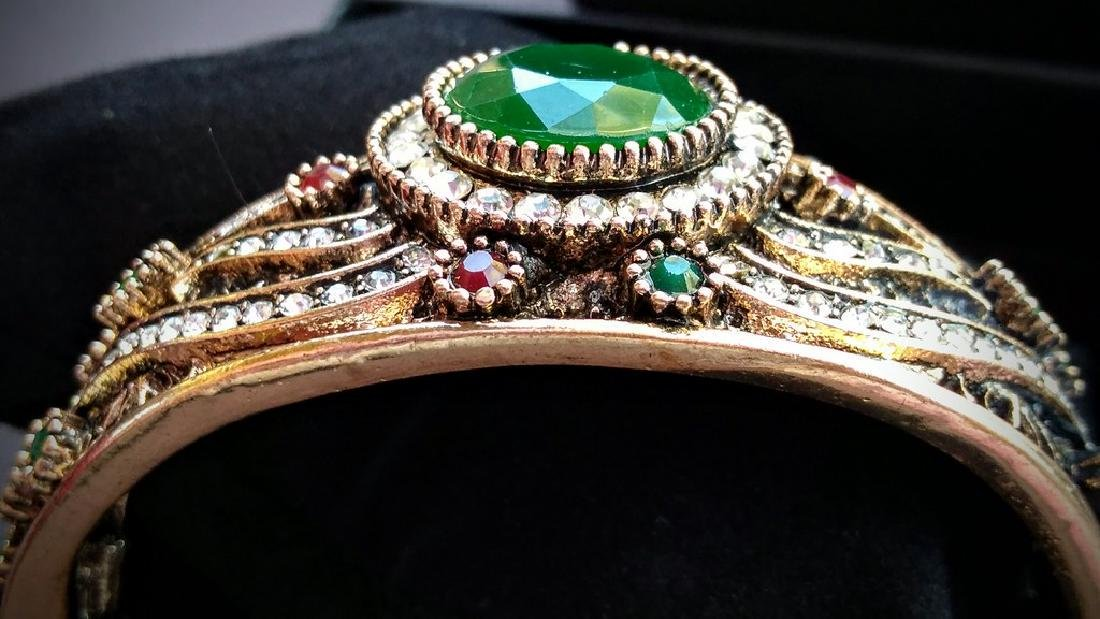 Vintage Brass Emerald Ruby White Topaz Bracelet - 2