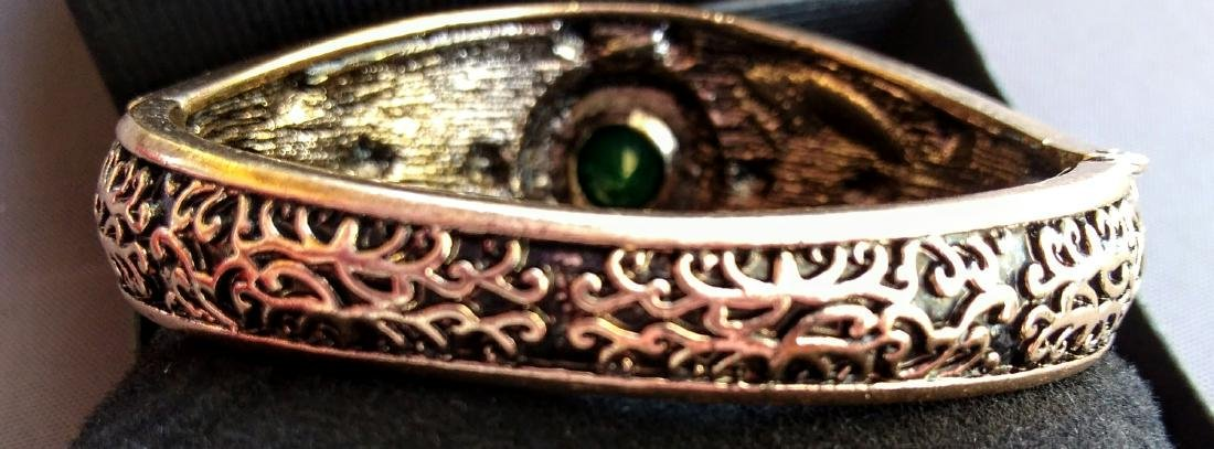 Vintage Brass Emerald Ruby White Topaz Bracelet - 3