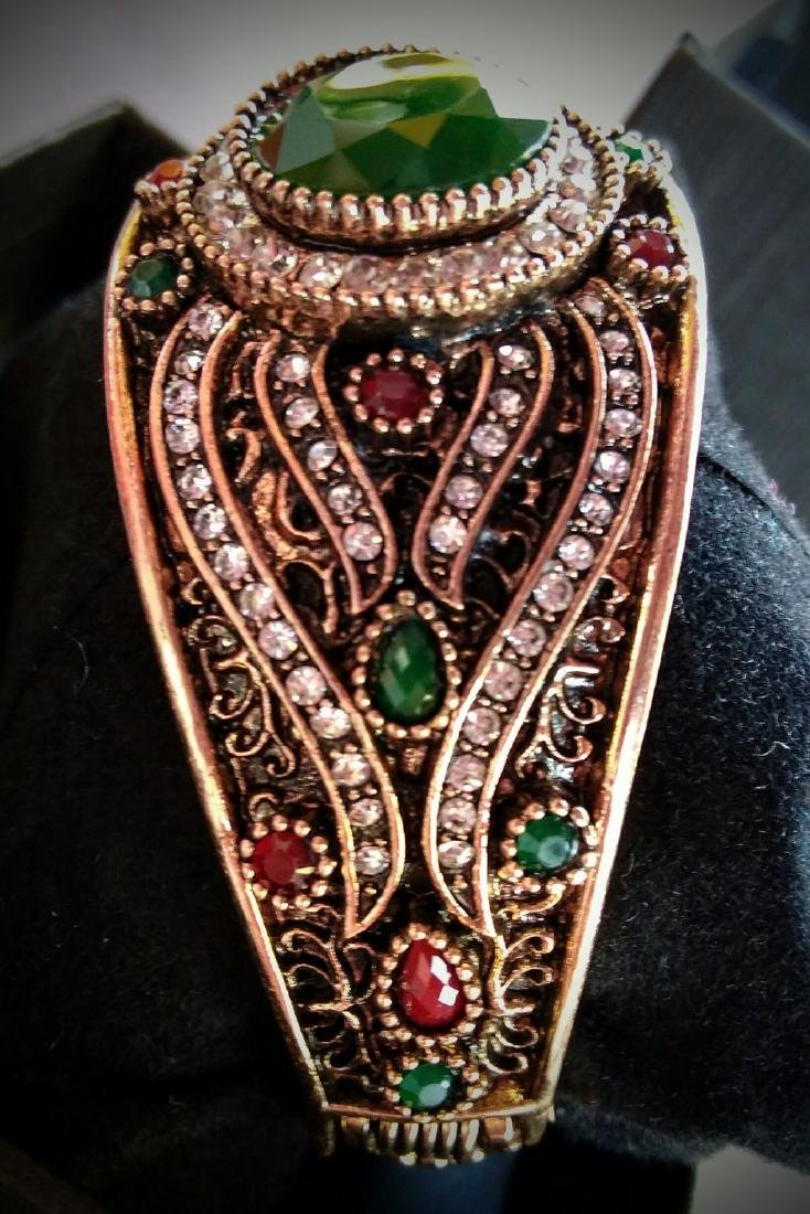 Vintage Brass Emerald Ruby White Topaz Bracelet - 4