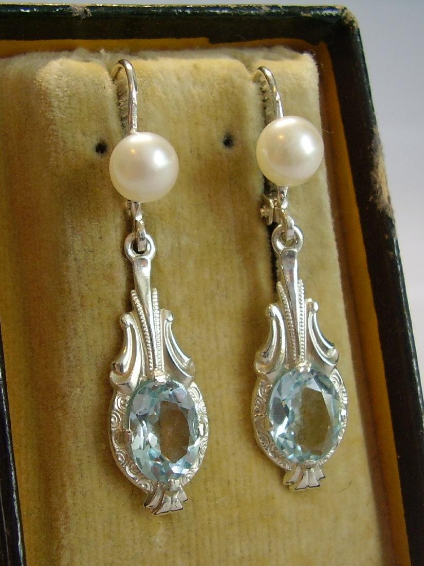935 Silver Blue Topaz earrings and real pearls