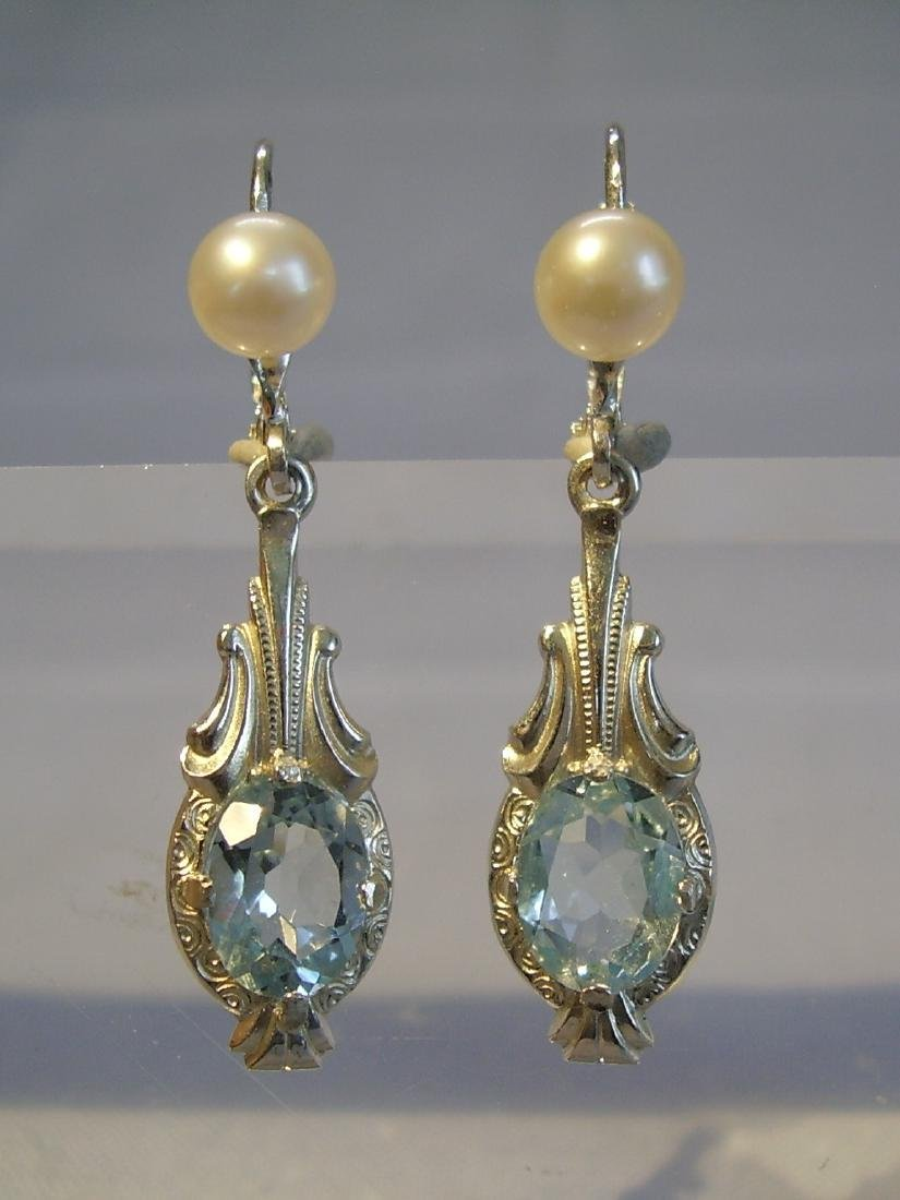 935 Silver Blue Topaz earrings and real pearls - 3