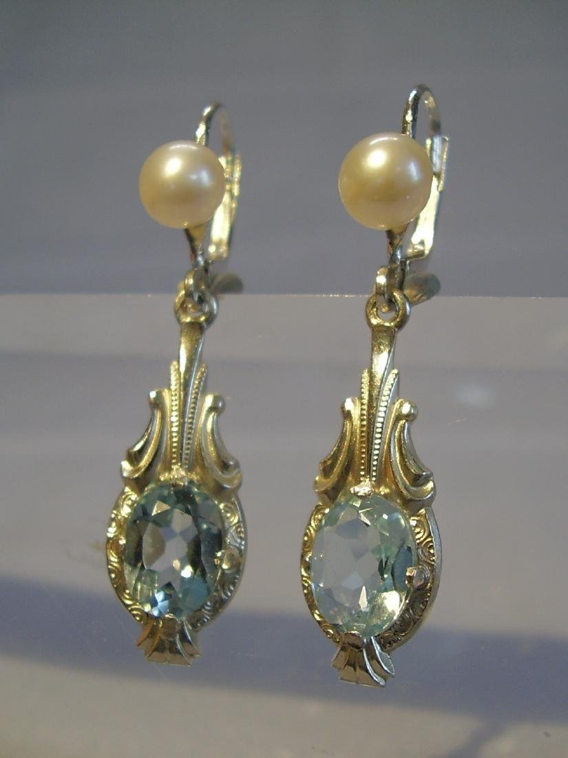935 Silver Blue Topaz earrings and real pearls - 4