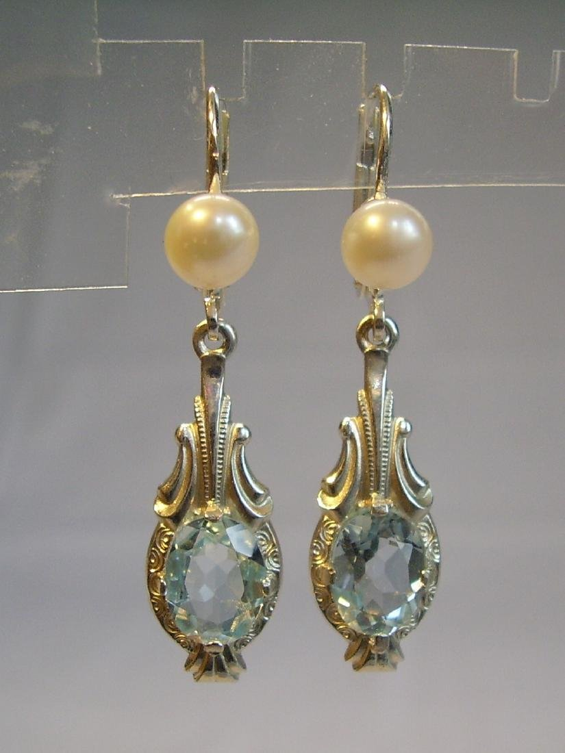 935 Silver Blue Topaz earrings and real pearls - 6