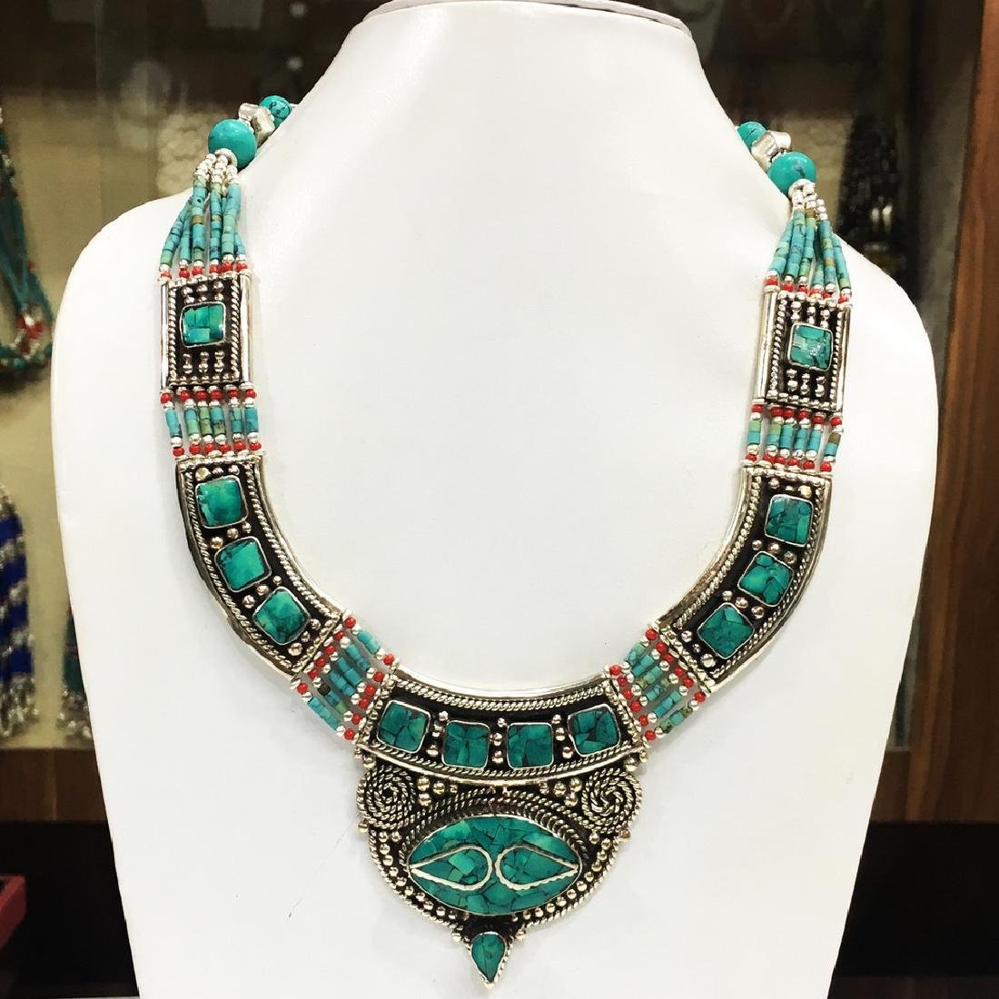 Tibetan Silver Traditional Turquoise Coral Necklace