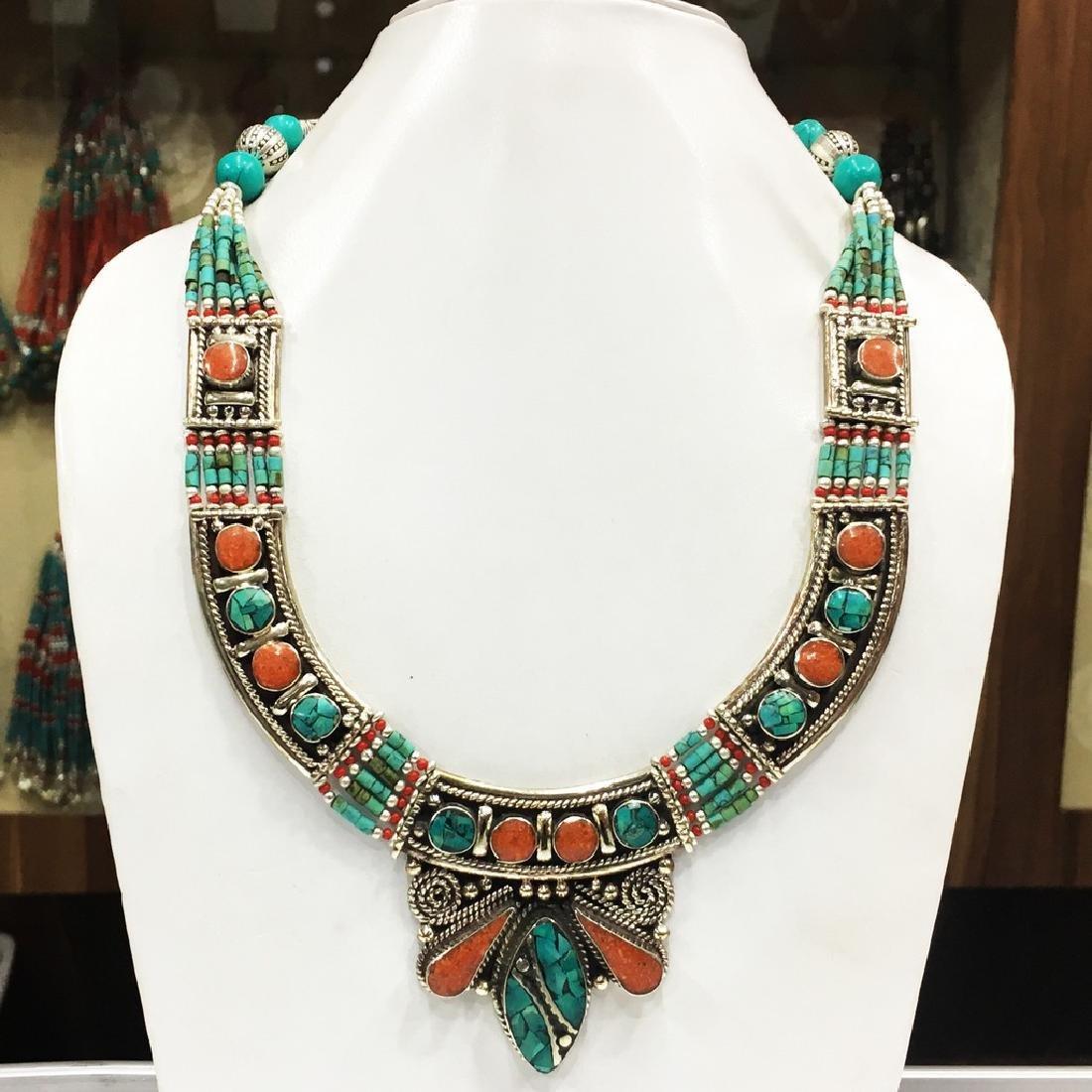 Tibetan & Nepalese Tibetan Silver Turquoise Necklace