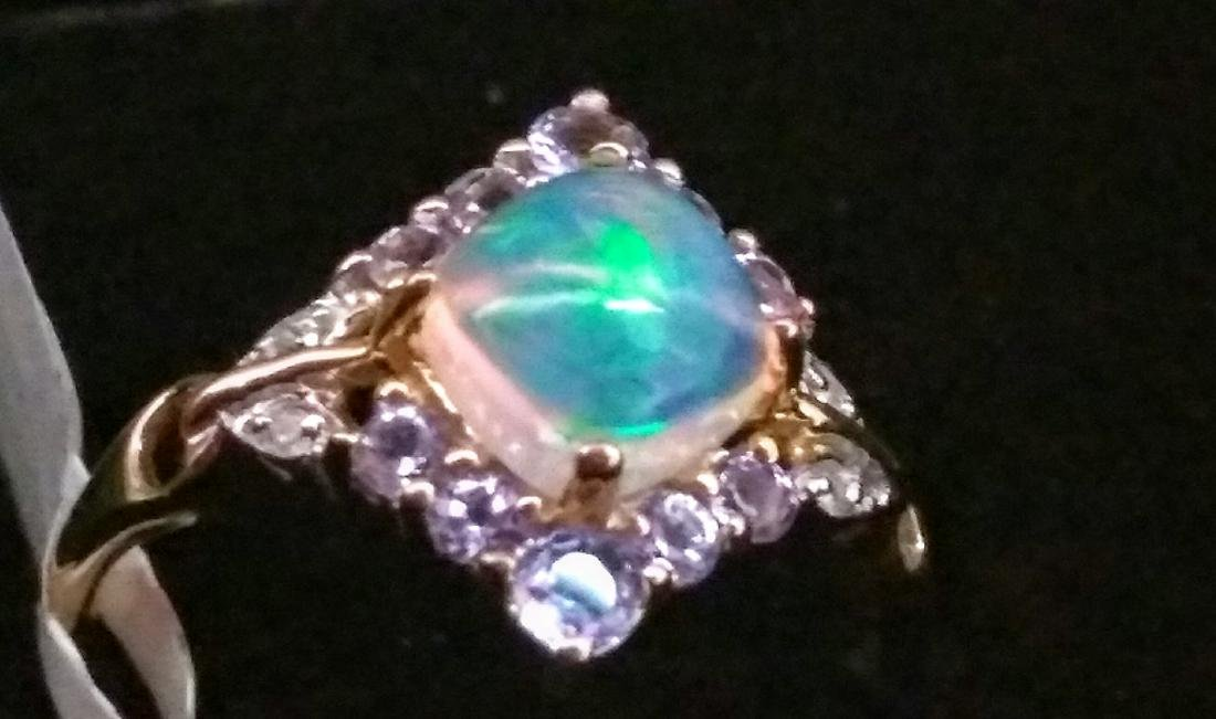 10k Yellow Gold Ethiopian 0.780 Opal Tanzanite Ring - 4