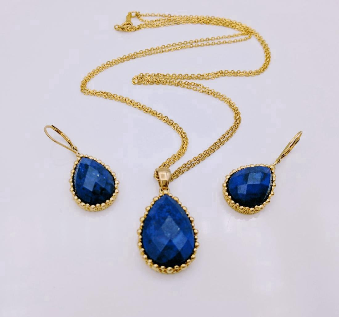 Gold Tone Sterling Silver Sodalite Necklace Earring Set