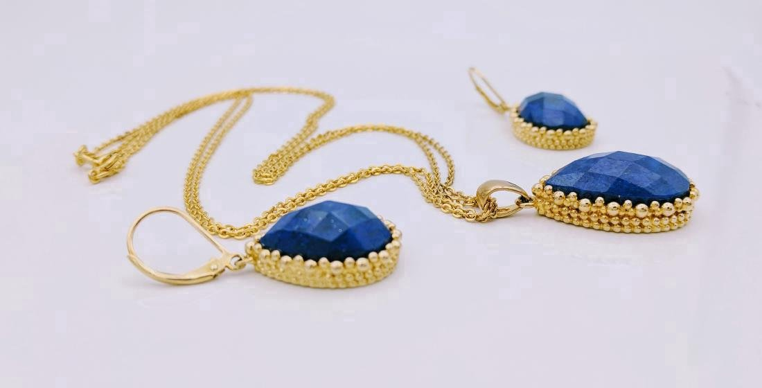 Gold Tone Sterling Silver Sodalite Necklace Earring Set - 2