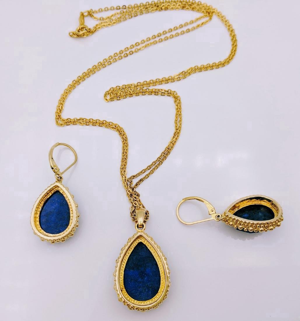 Gold Tone Sterling Silver Sodalite Necklace Earring Set - 3