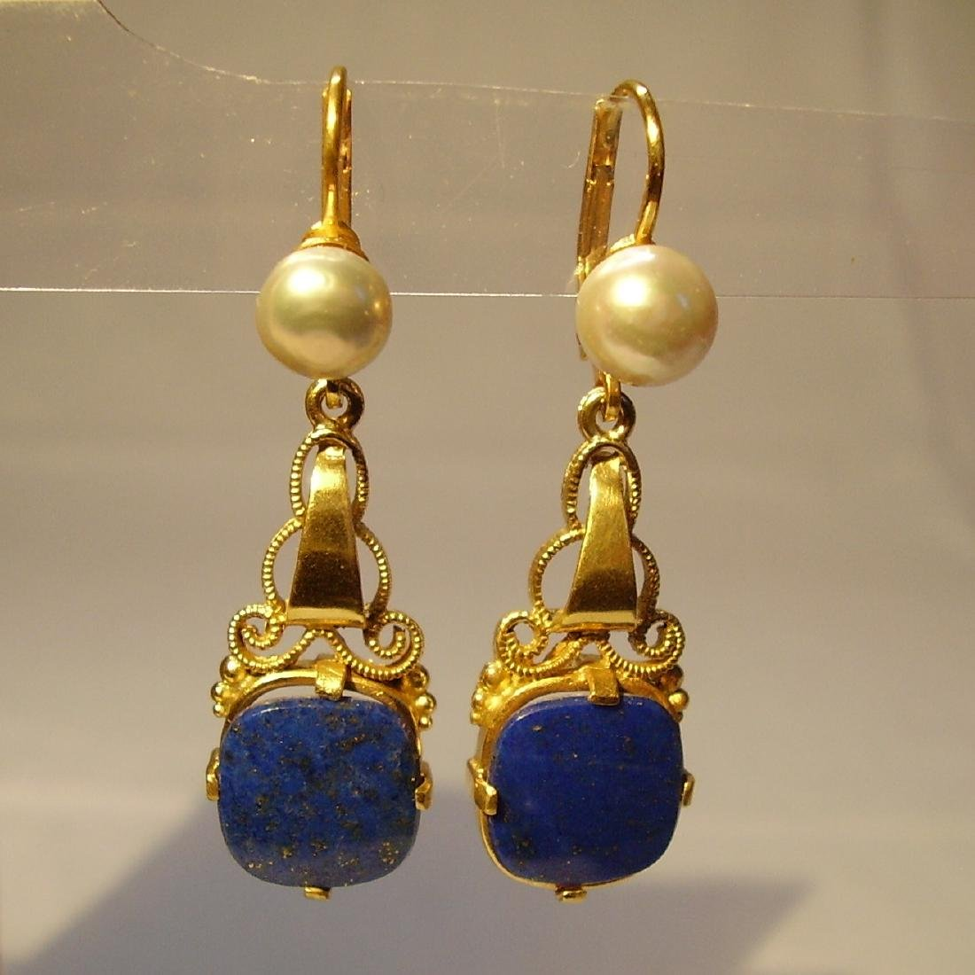 935 Silver Lapis lazuli Earrings Art deco