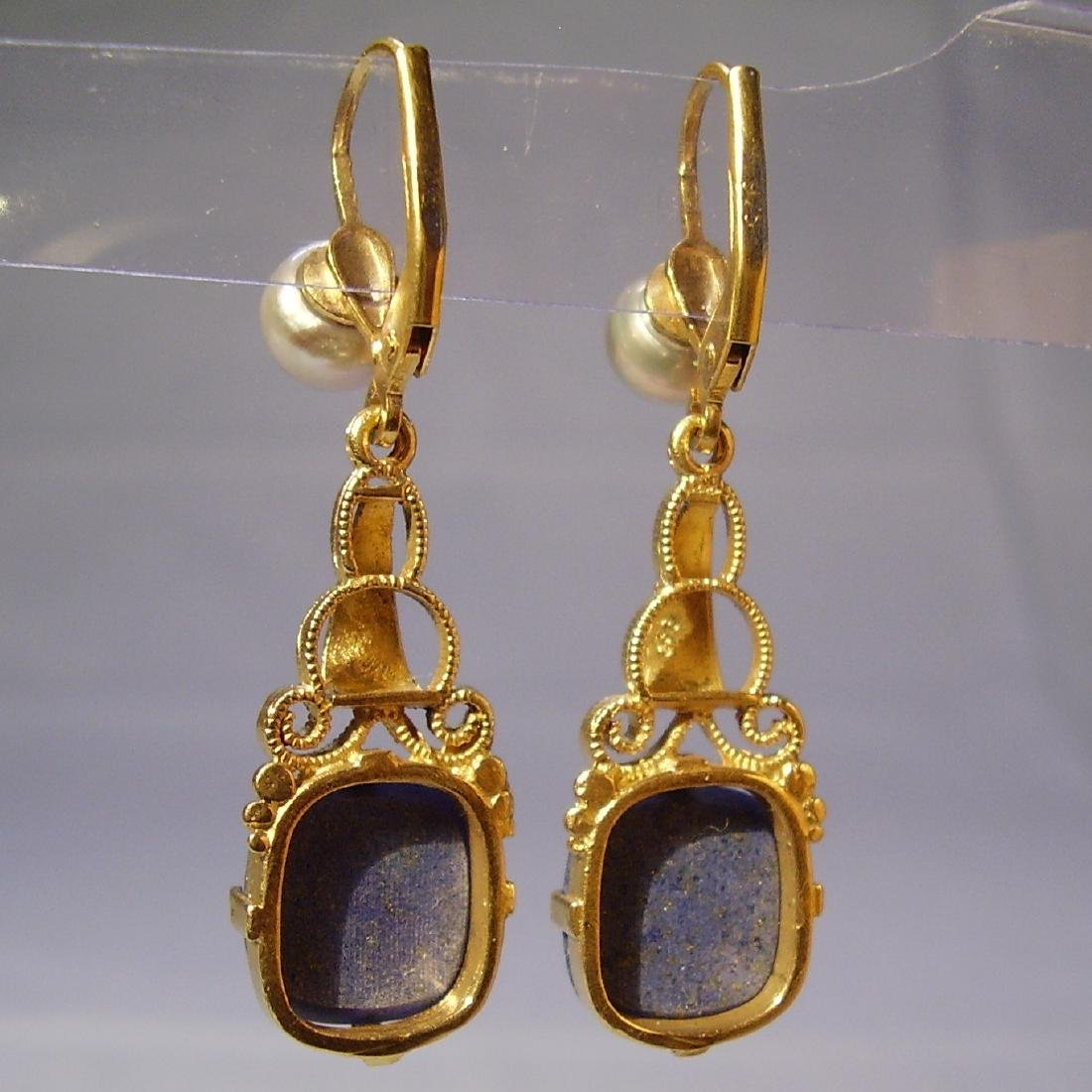 935 Silver Lapis lazuli Earrings Art deco - 2