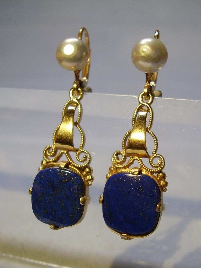 935 Silver Lapis lazuli Earrings Art deco - 3