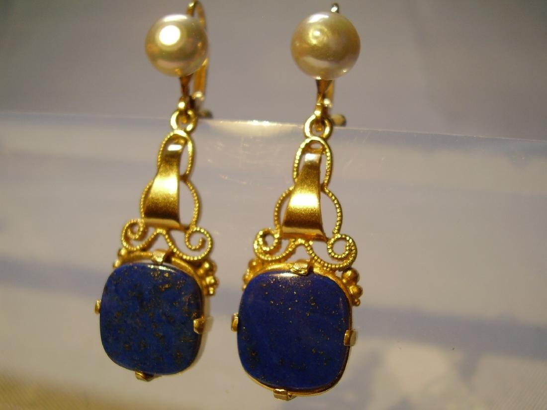 935 Silver Lapis lazuli Earrings Art deco - 5